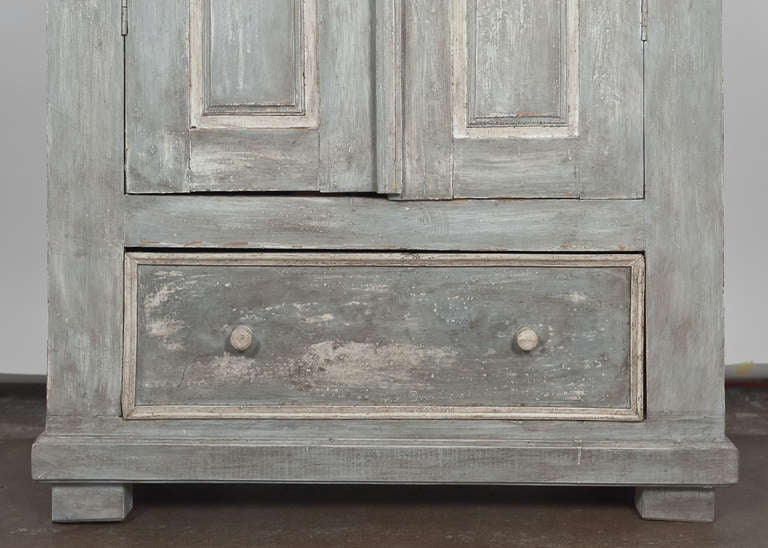 Antique 19th Century Portuguese Blue Patined Armoire 8