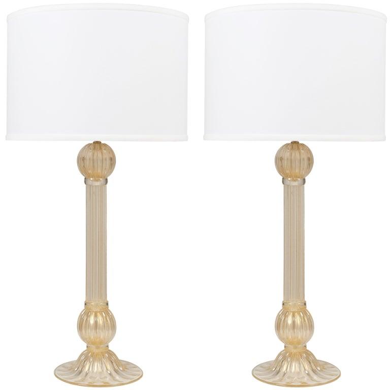 "Pair of Murano ""Avventurina"" Glass Table Lamps"