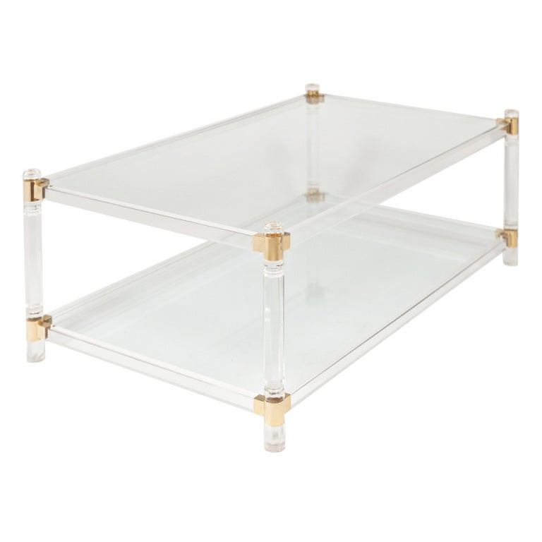French vintage lucite and brass cocktail table at 1stdibs for Lucite and brass coffee table