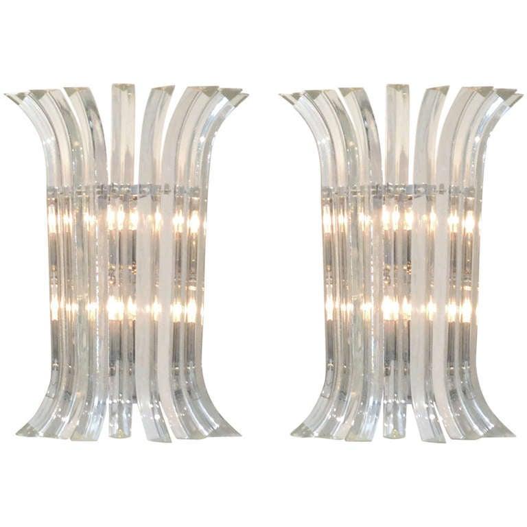 Murano Glass Sconces by Venini For Sale