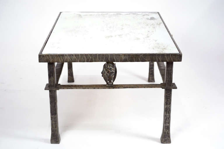 French vintage forged iron and bronze coffee table for