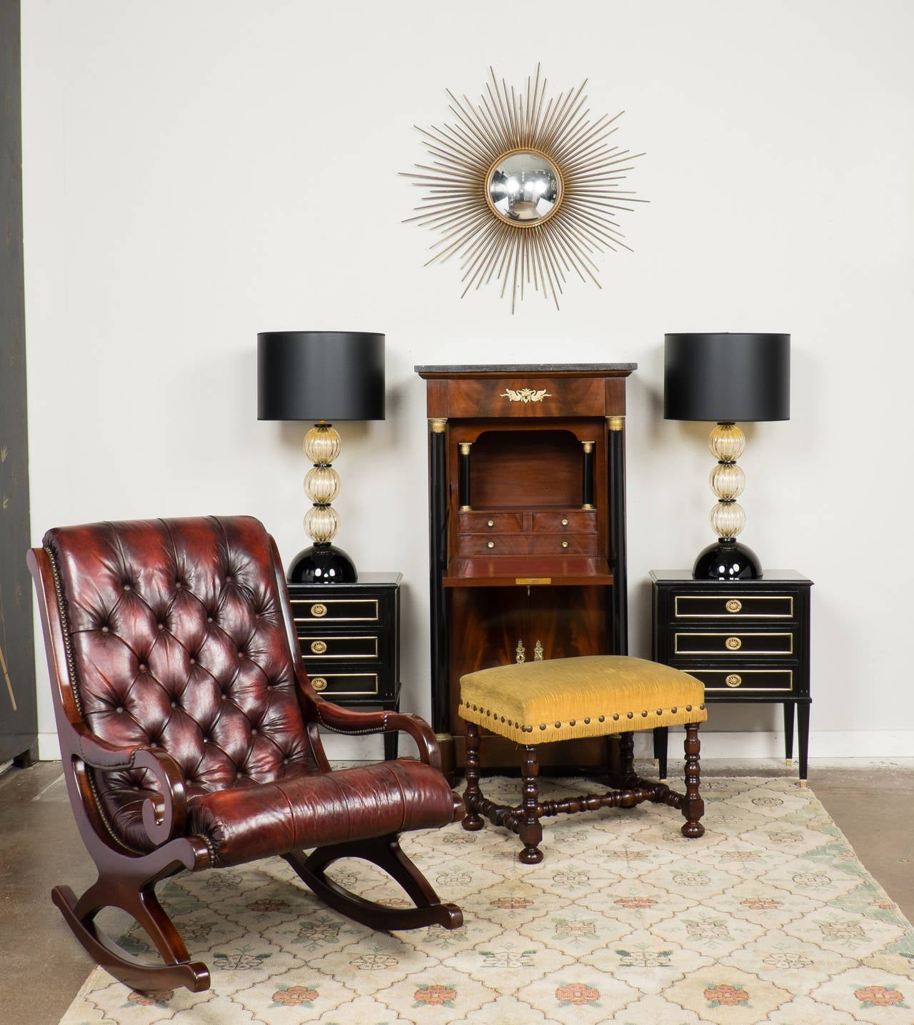 French Vintage Tufted Leather And Mahogany Rocking Chair