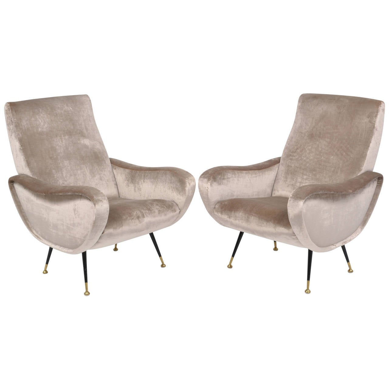 Italian mid century modern pair of velvet lounge chairs at for Contemporary lounge chairs
