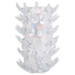 Signed Luigi Camozzo Iridescent Murano Glass Vase