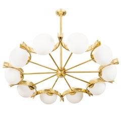 Stunning Vintage Murano Glass and Brass Chandelier