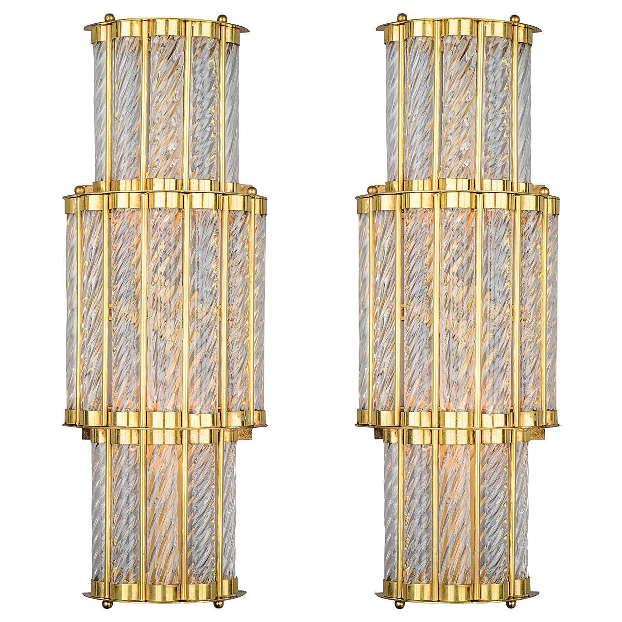 Art Deco Style Murano Wall Sconces at 1stdibs