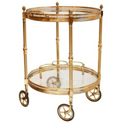 Vintage Brass & Glass Bar Cart on Wheels, Att. to Bagues
