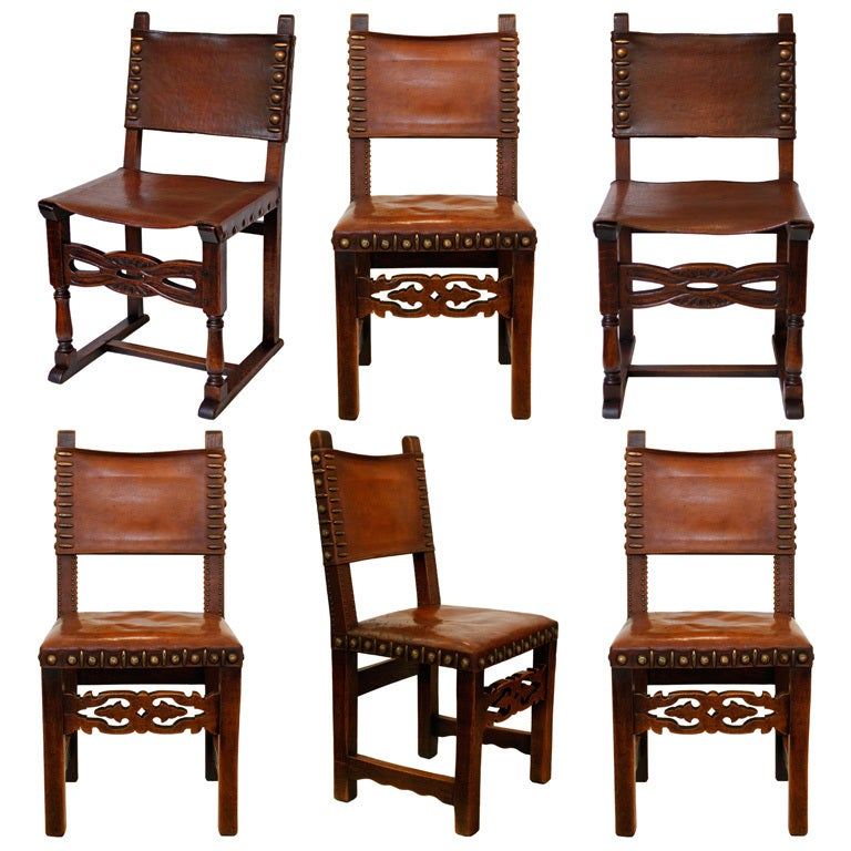 Cool Dining Room Chairs: Unique Mixed Set Of 6 Leather And Oak Dining Chairs At 1stdibs