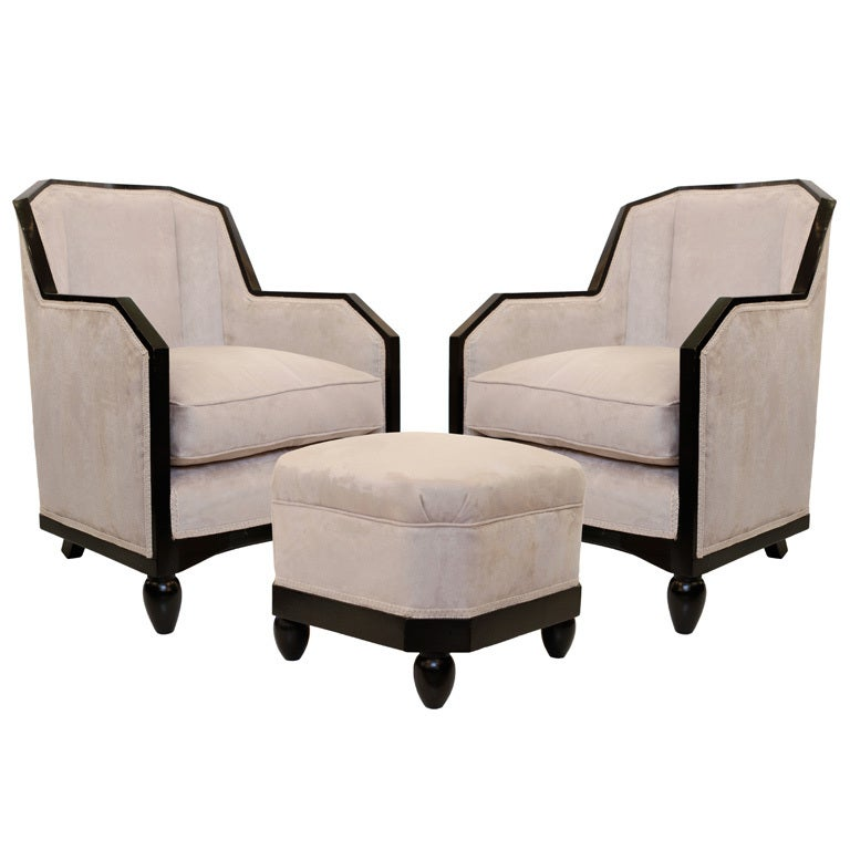 Art deco armchairs with footstool in the style of pierre chareau at 1stdibs - Art deco muebles ...