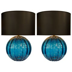Pair of Cerulean Murano Glass Globe Lamps by Barovier