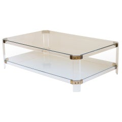 Lucite, Brass, and Glass Coffee Table