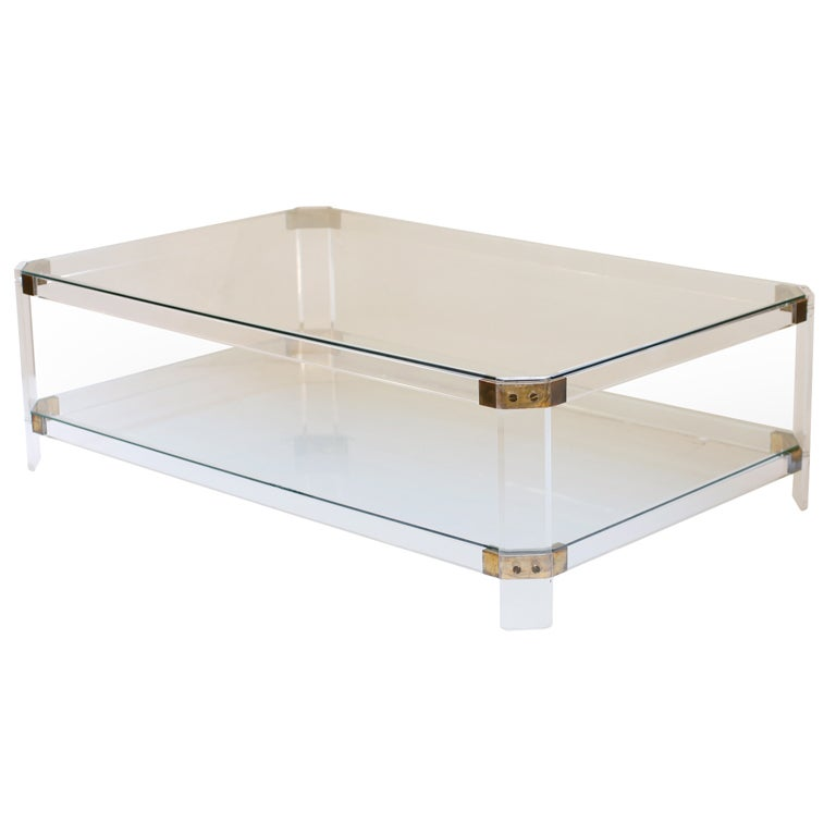 Lucite Brass And Glass Coffee Table At 1stdibs