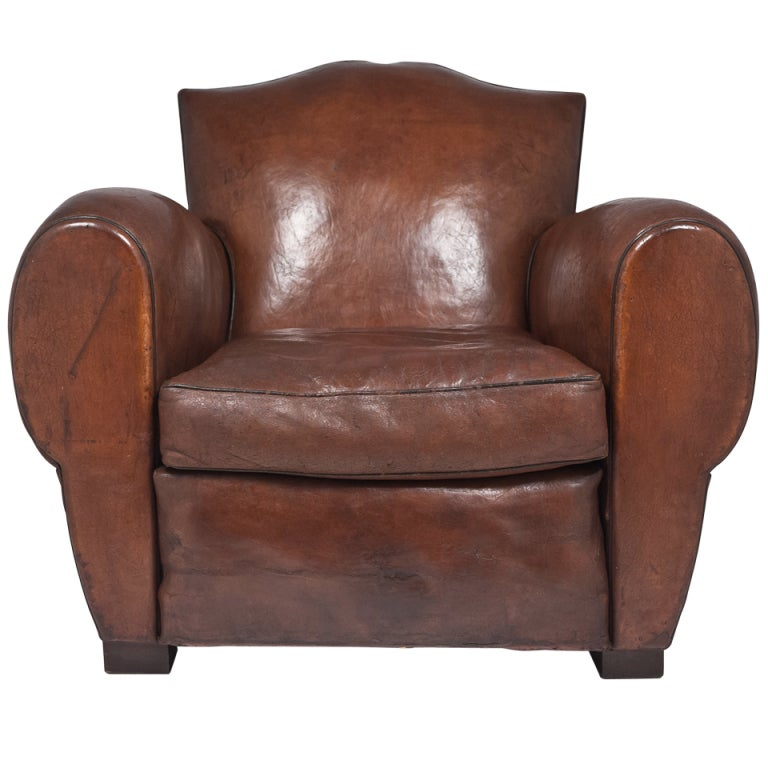The last french art deco moustache leather club chair at 1stdibs - Club deco ...