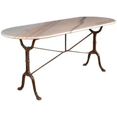 French Antique Cast Iron & Marble Bistro Table