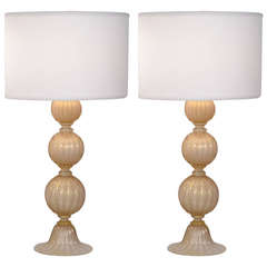 Pair of Murano Rose Gold Glass Lamps