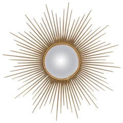 French Vintage Sunburst Mirror by Maison Chaty