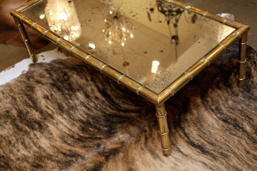 Great Brass Bamboo And Antiqued Mirror Coffee Table At 1stdibs