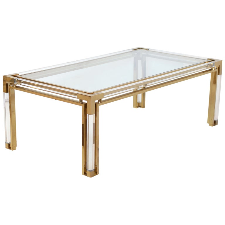 Superb french gilt brass and lucite coffee table at 1stdibs for Lucite and brass coffee table
