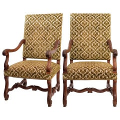 Pair of Louis XIII Hand Carved Walnut Armchairs