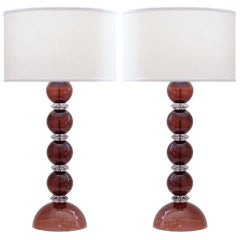 Pair of Amethyst and Crystal Murano Glass Lamps