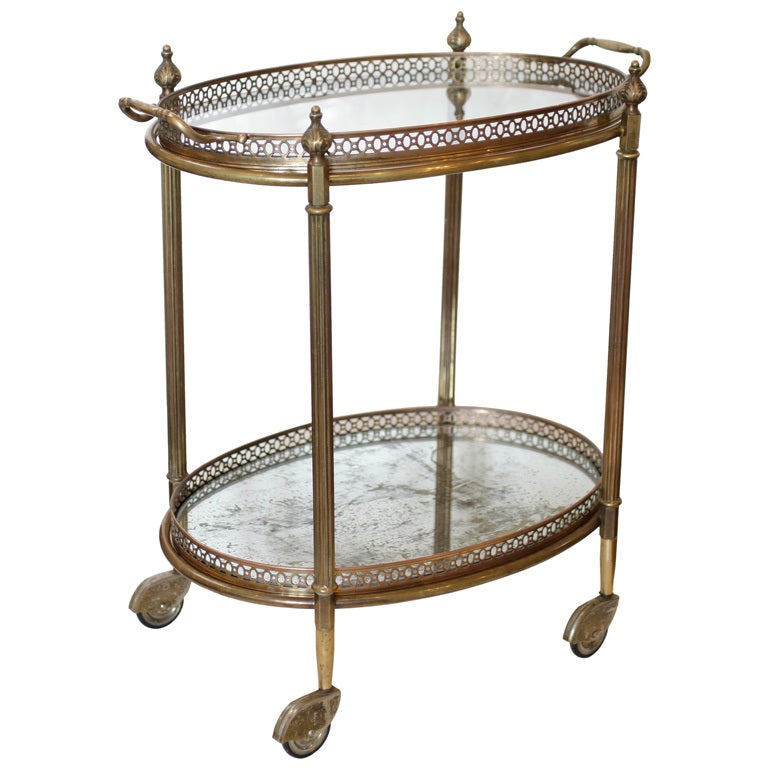 French Antique Brass And Glass Tray Table At 1stdibs