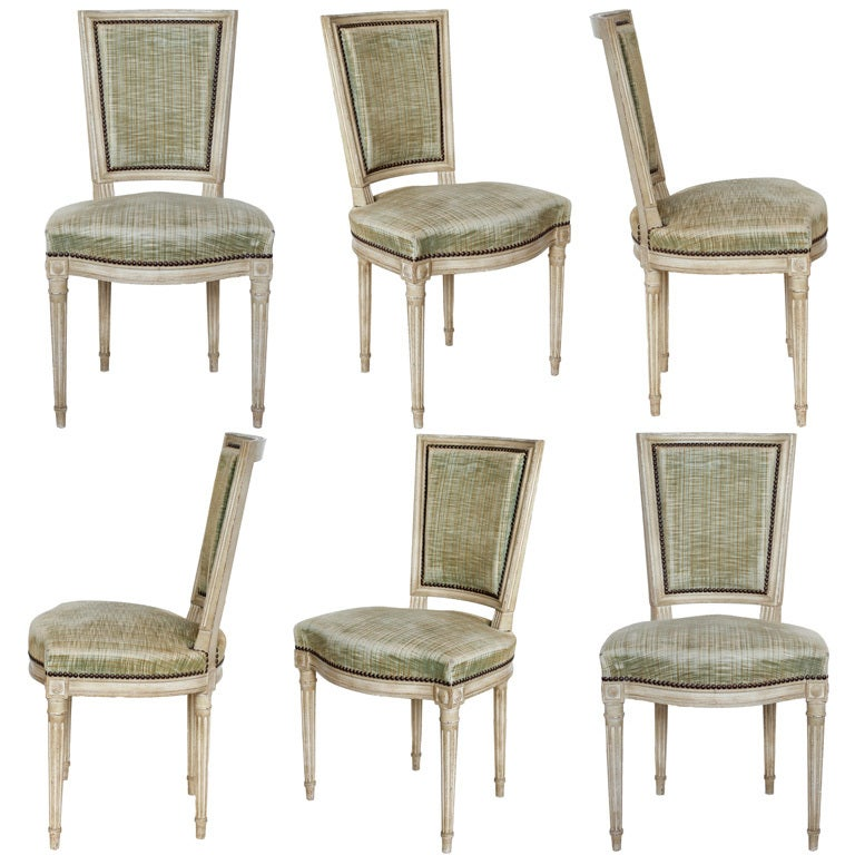 Set Of 6 Louis XVI Hand Painted Dining Chairs At 1stdibs