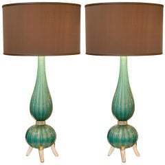 Gorgeous Pair of Murano Sea Green Glass Lamps