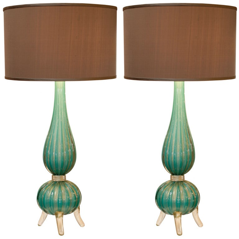 Gorgeous Pair Of Murano Sea Green Glass Lamps At 1stdibs