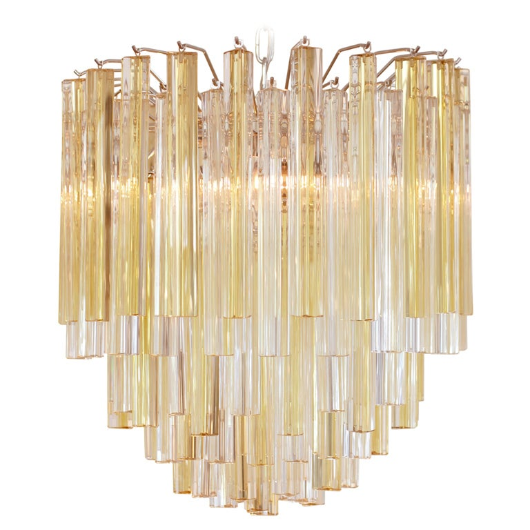 Amber And Crystal Murano Glass Chandelier By Venini At 1stdibs