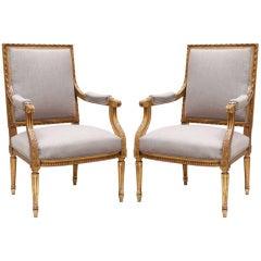Elegant Pair of Louis XVI Gold Leafed Armchairs