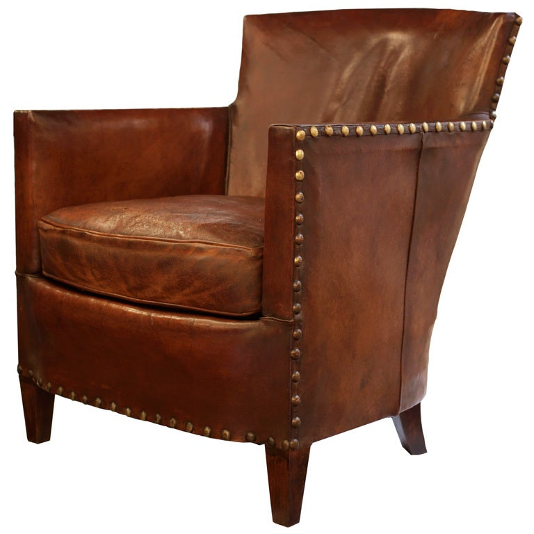 French Art Deco Lambskin Leather Club Chair At 1stdibs