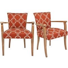 Set of French Art Deco Bridge Chairs in Cerused Oak