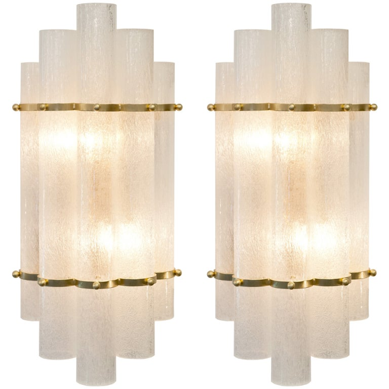 Italian Art Deco Style Pair of Murano Glass and Brass Sconces For Sale at 1stdibs