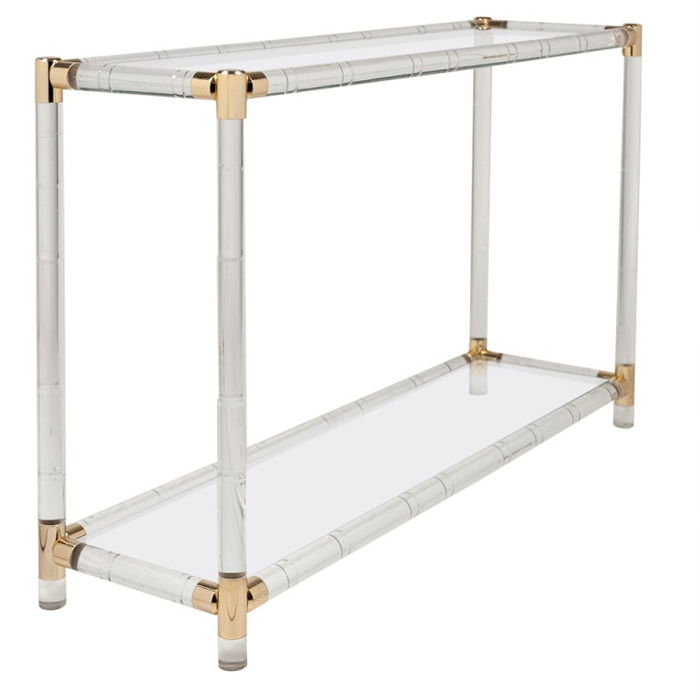 French Vintage Lucite Brass Glass Console Table