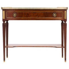 French Louis XVI Marble-Top Mahogany Console