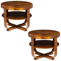 Austrian Art Deco Biedermeier Pair of Center Tables
