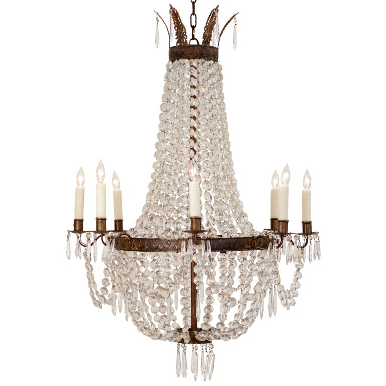 Beautiful French Empire Crystal And Bronze Chandelier At