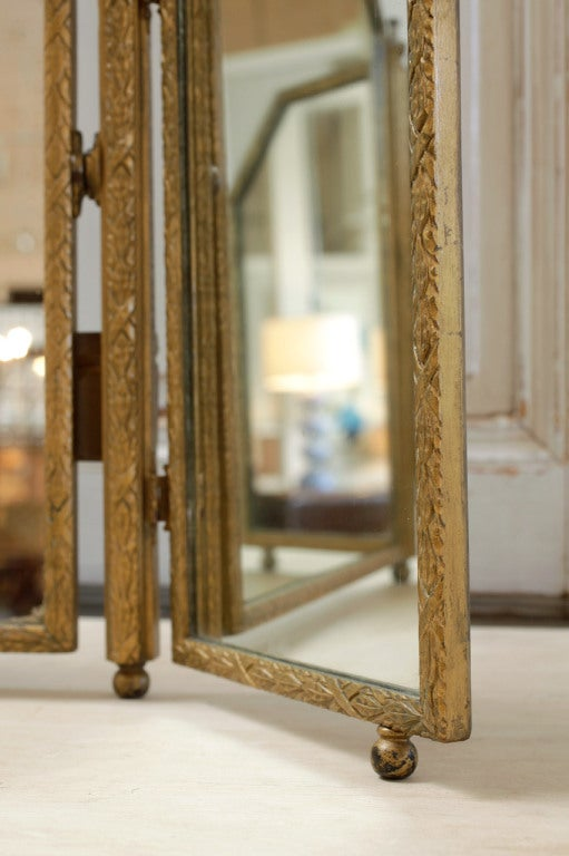 Art Deco Gilded Triptych Table Mirror At 1stdibs
