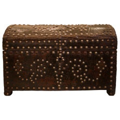 Antique Studded Leather Box