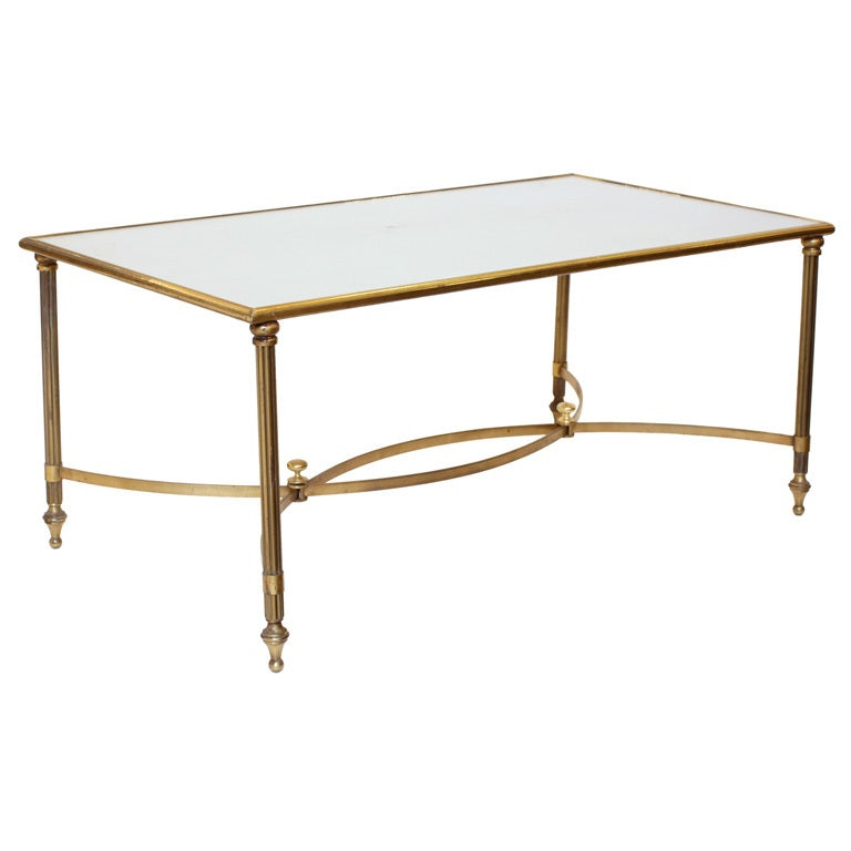 Art deco brass and glass coffee table at 1stdibs Antique brass coffee table