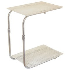 Perforated Metal and Chrome Tray Table by Mategot