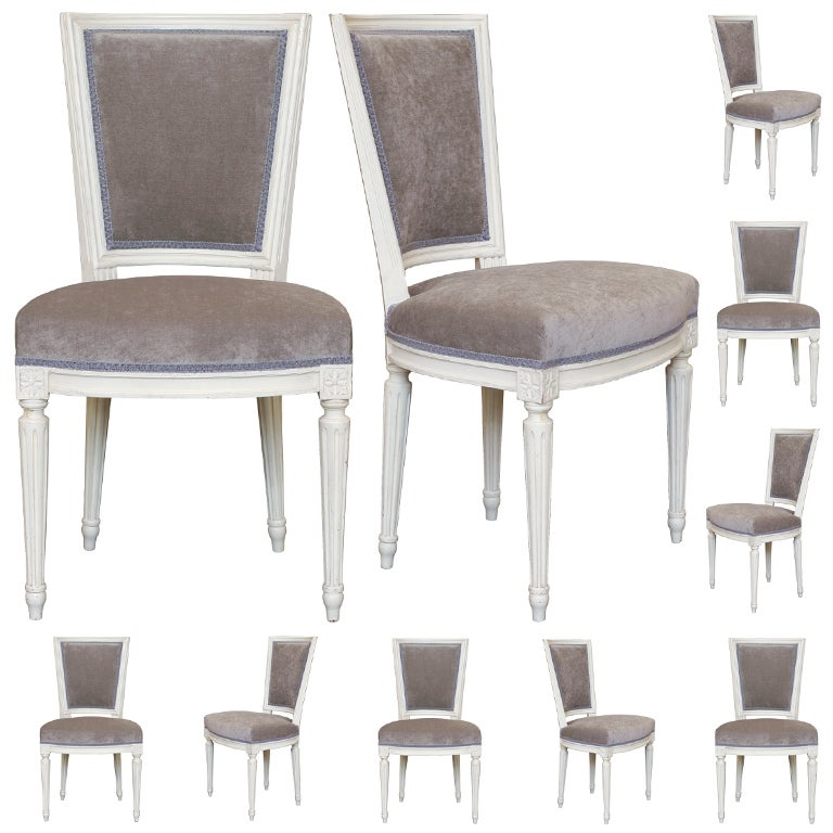 Set of 10 Louis XVI Hand Painted Dining Chairs at 1stdibs