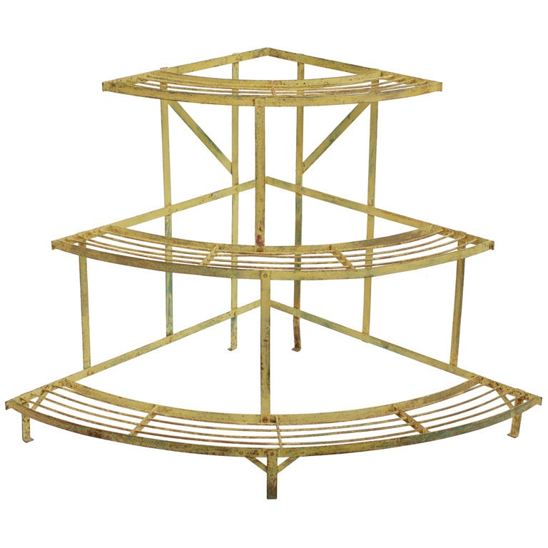French Cadmium Yellow Corner Garden Shelf At 1stdibs