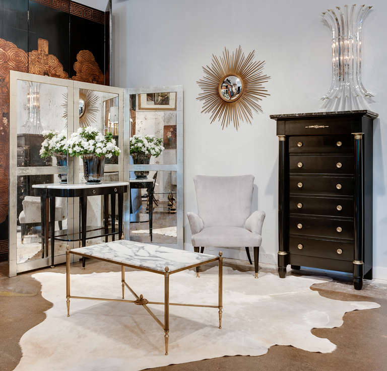 french carrara marble top maison bagues coffee table at 1stdibs