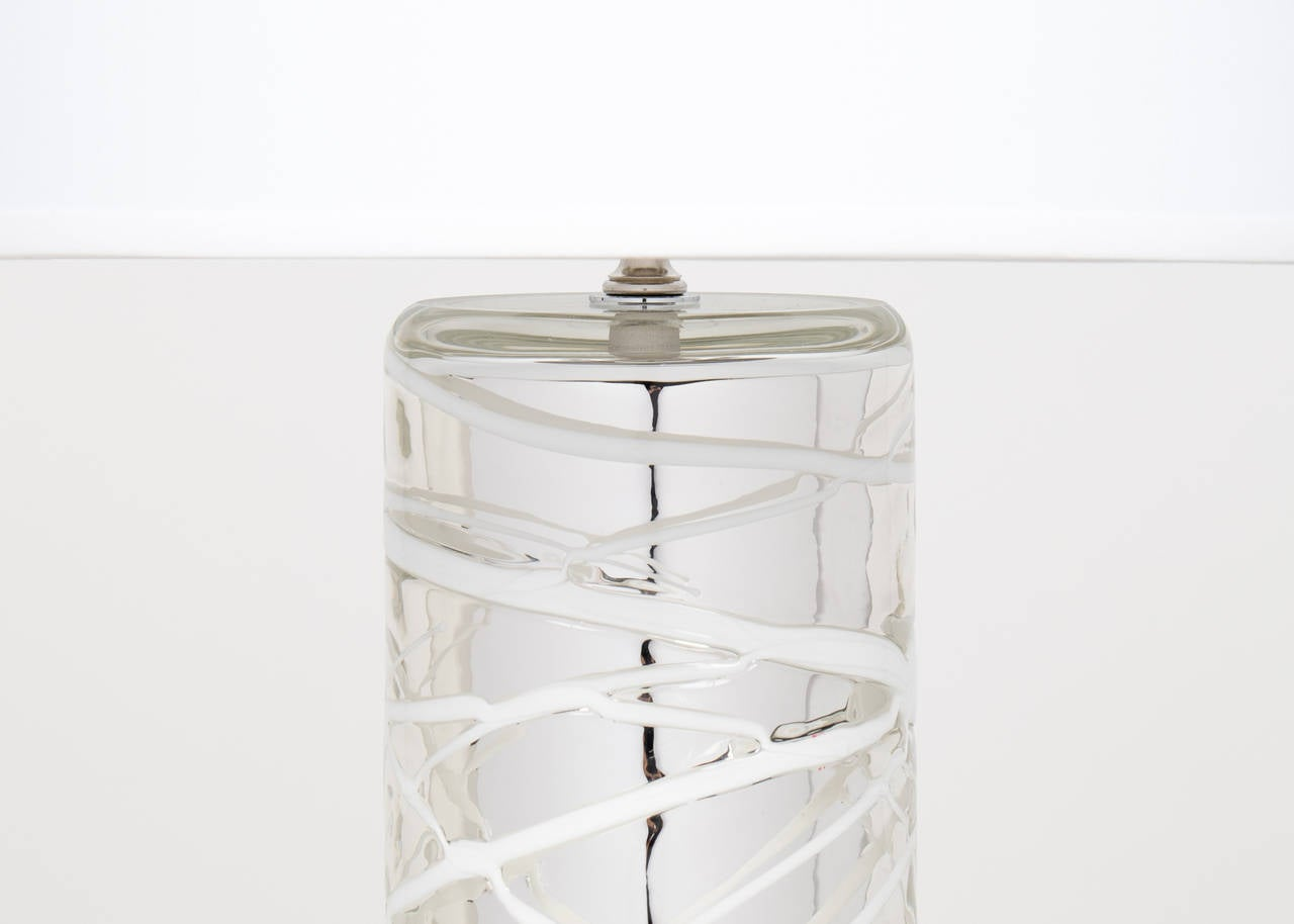 Contemporary Pair of Murano Mercury Glass Lamps