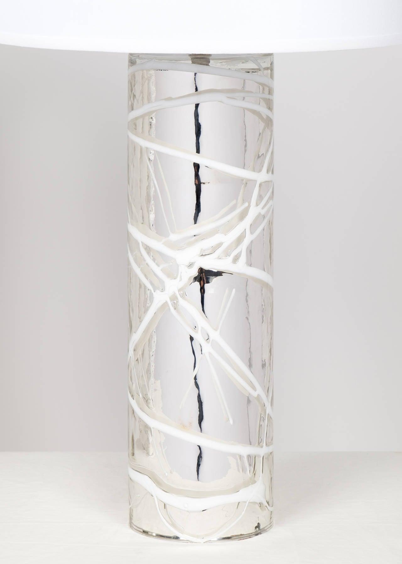 Italian Pair of Murano Mercury Glass Lamps