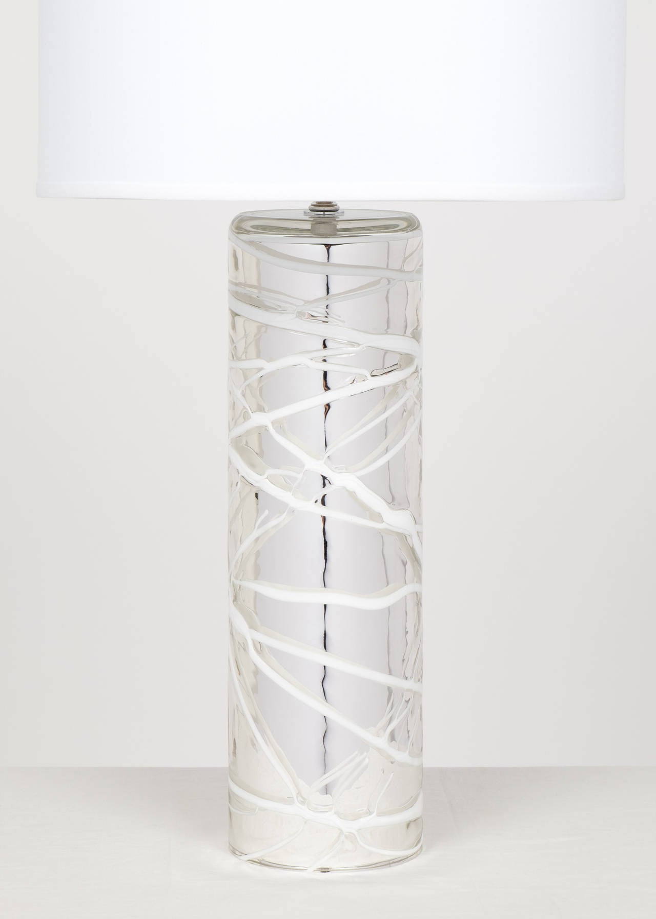 Mid-Century Modern Pair of Murano Mercury Glass Lamps