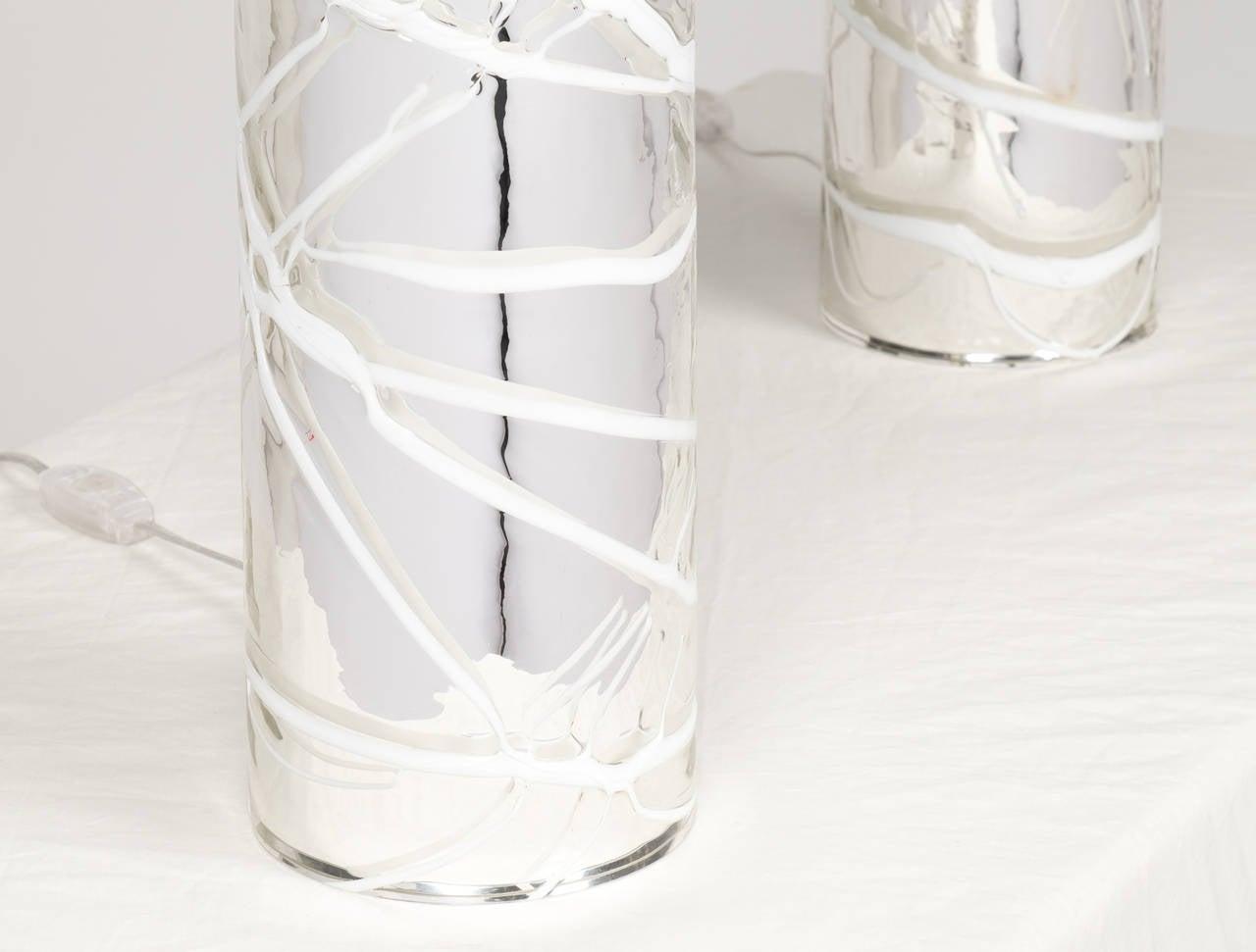 Pair of Murano Mercury Glass Lamps 1