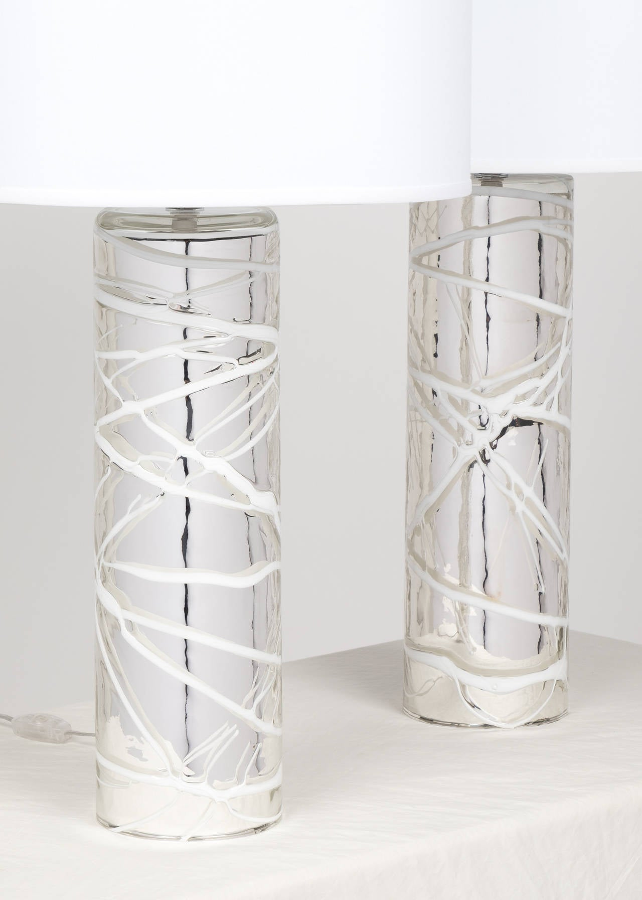 Pair Of Murano Mercury Glass Lamps For Sale At 1stdibs