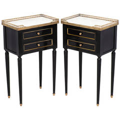 French Louis XVI Ebonized Side Tables
